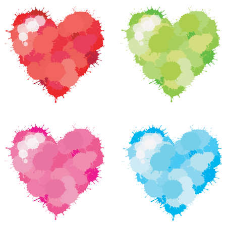 4 colors splatter heart set, create by vector Stock Vector - 17794579