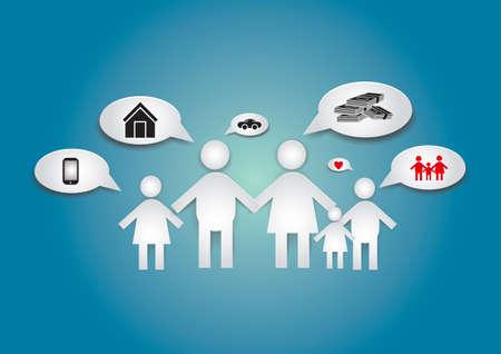 social issues: Ci� che il bambino vuole veramente dalla famiglia � l'amore e la cura da parte dei genitori Vettoriali