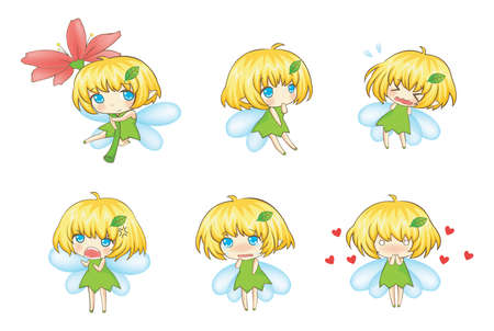 creare: Carino Piccolo Fairy Set in varie espressioni, creare un vettore Vettoriali