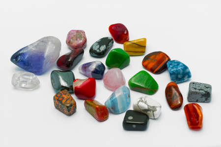 Colorful stones and minerals in white backgrounds Stock Photo - 17947329