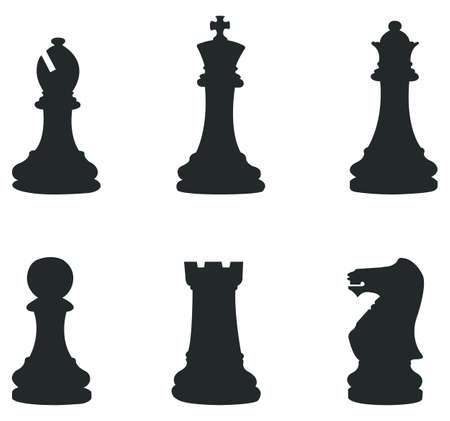 chess board: Sets of silhouette Chess icon