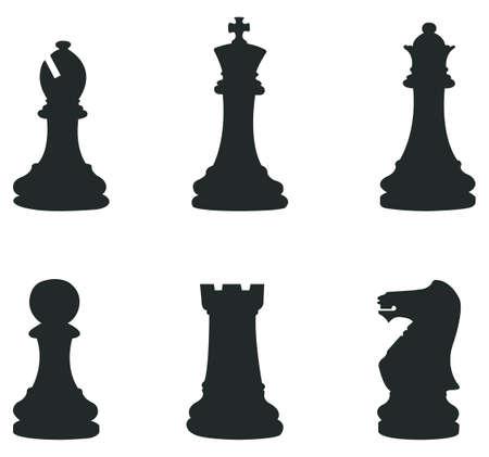 Zestawy ikon Szachowego sylwetka Ilustracja