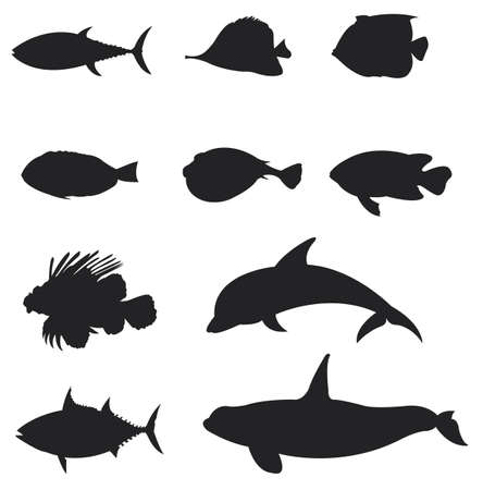 Sets of silhouette Fishes 2, create by vector Vector