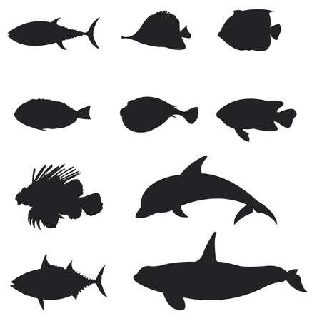 Zestawy Fishes sylwetka 2, tworzyć o wektor Ilustracja