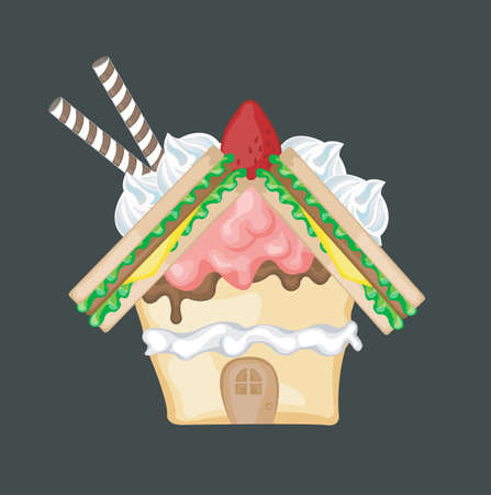 strawberry jam sandwich: Sweets Sandwich House, create by vector Illustration