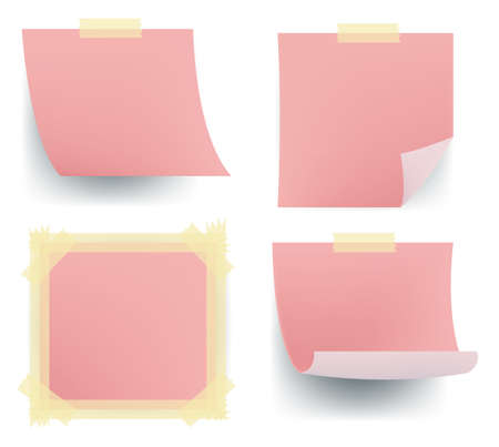 Pink note sets sticking on the wall, create by vector. Illustration