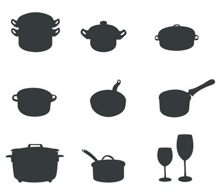 kitchen ware: Sets of silhouette kitchen tools 2, create by vector