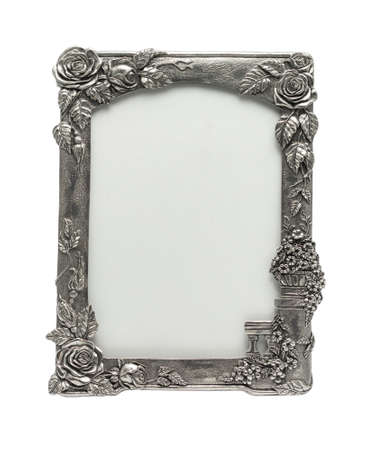Natural Silver Rose Picture Frame  It is an antique item  photo