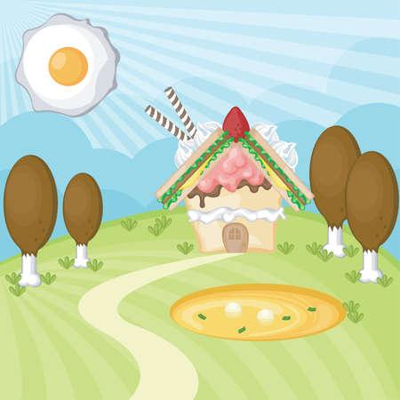 casita de dulces: Paisaje Alimentos, crear por vector