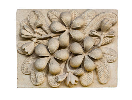 A stone inscription of a Plumeria  flower. It is anceint art Stock Photo - 18320138