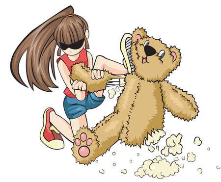 aggressively: Una cattiva ragazza sta distruggendo un orsacchiotto aggressivo. Lei � un problema minore. Vettoriali