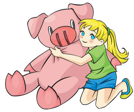 Young Girl is hugging a giant piggy doll Stock Vector - 18365404