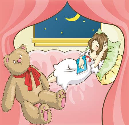 dormir habitaci�n: Una ni�a durmiendo mientras leyendo el libro en su habitaci�n, por crear vector Vectores