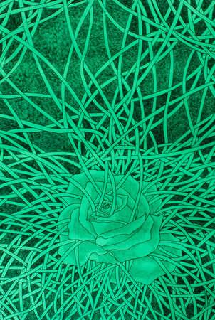 confine: Greeny wild rose bondage Stock Photo