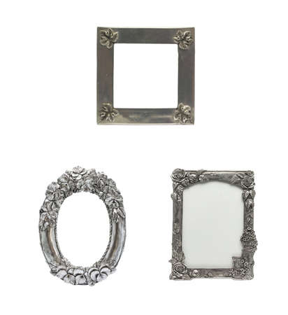 Decorated Silver  Picture Frame set in isolated background  It is an antique item  photo