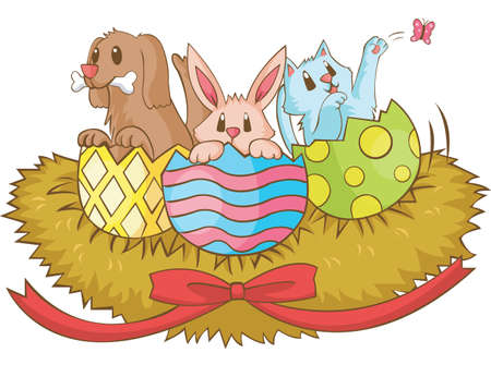 Cute animal hatching from easters eggs Vector