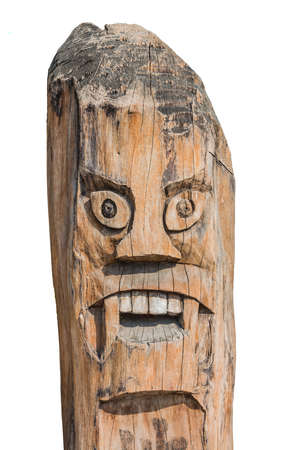 Asian Monster pole  Old tribal art create of wood photo