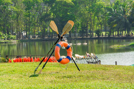 Coast Guard preparation on the riverbank of Thailand Stock Photo