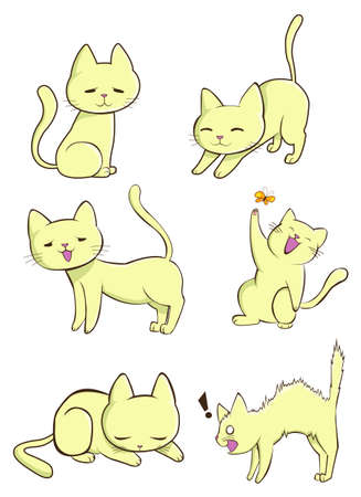 Cute female cat in various action. Vector