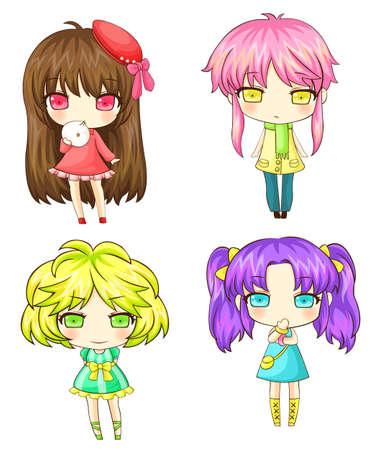 갱: 다양한 특성 일본 SD 소녀 갱 세트.