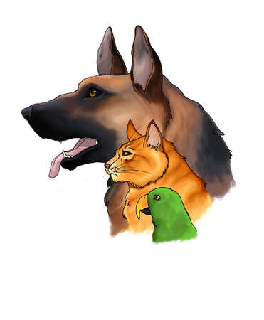 alsatian: The sketch drawings of three pets looking forward in a column consists of dog, cat, and a parrot