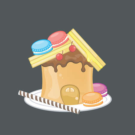 Sweets peanut butter sandwich house Stock Vector - 18788056