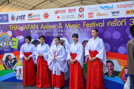 BANGKOK, THAILAND - MARCH 31: Group of Thai cosplayers dress as traditional Japanese shaman to promote the 3rd Thai-Japan anime festival on March 31, 2013.