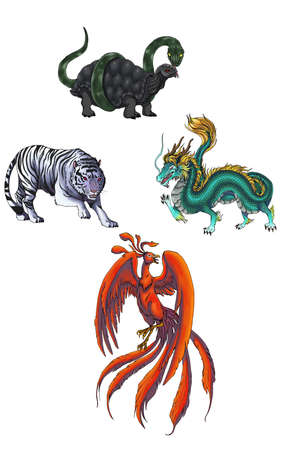 4 Chinese mythical creature gods called Shijin which consist of Dragon, Tiger, Turtle, and Phoenix Stock Photo