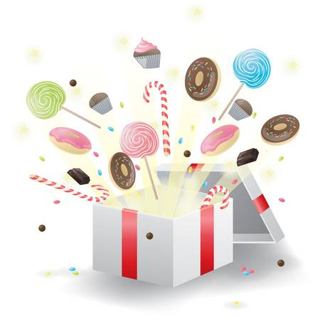 Various sweets burst from present box Vector