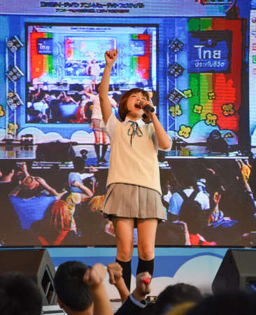 BANGKOK, THAILAND - MARCH 31: Kazumi from Sony Music performs live concert in school uniform in the 3rd Thai-Japan Anime & Music Festival on March 31, 2013. Stock Photo - 18833041
