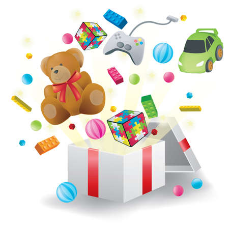 Various toys burst from present box in white background, create by vector Vector