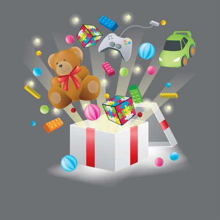 niños jugando videojuegos: Varios juguetes irrumpen desde la caja de regalo en fondo negro, crear por vector