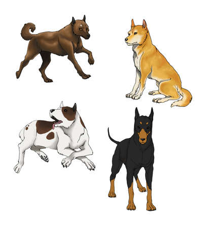 Sets of illustration dog, in four various species illustration
