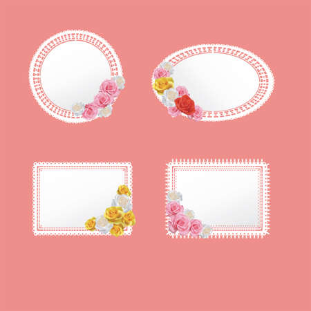 Four cute doily pattern badge with rose collection, create by vector Vector