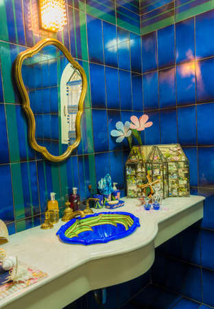 Luxury toilet, decorate in marine style interior photo