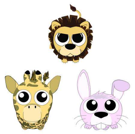 leon bebe: Animales lindos consisten en león, conejo, y la jirafa mirando conjunto