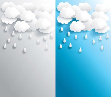 Rainy weather paper banner in various background, create by vector Vector