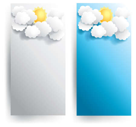 Sunny weather paper banner in various background, create by vector Stock Vector - 19071096