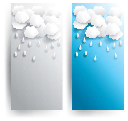 Rainy weather paper banner in various background, create by vector Stock Vector - 19071097