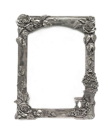 Natural Silver Rose Picture Frame. It is an antique item. photo