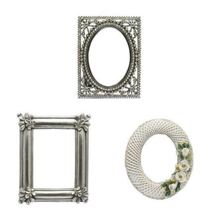 Decorated Picture Frame set 2 in isolated background   photo