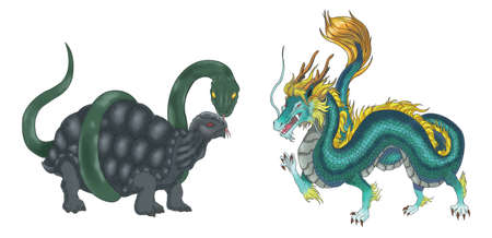 mythical: 4 Chinese mythical creature gods (Shijin) set 2 - Turtle and Dragon. Create by vector