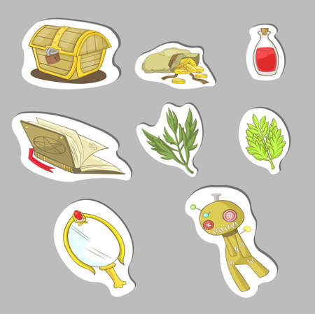 rpg: Magical items sticker collection set, create by vector Illustration
