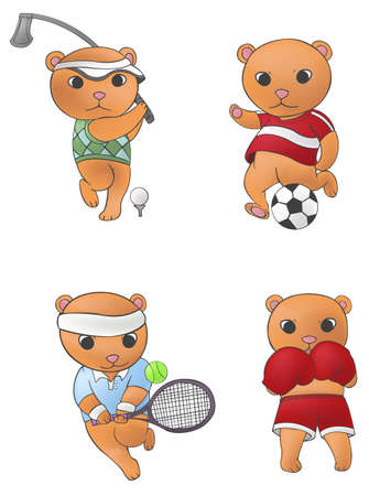 Sport mascot bear collection set 1, create by vector Vector