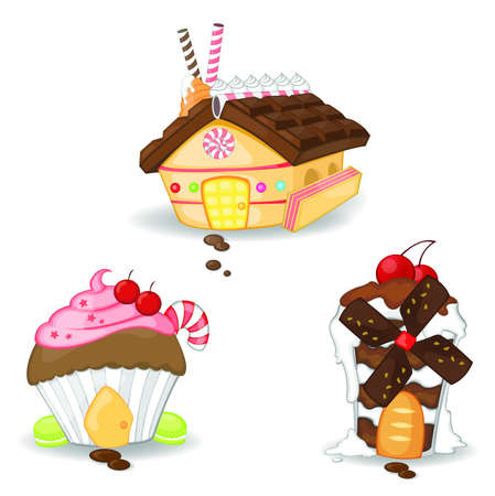 christmas pudding: Candy houses collection set 1  Illustration
