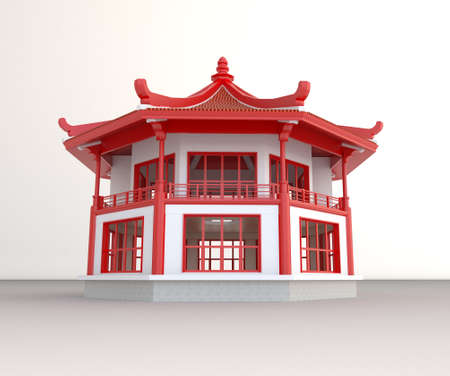 3d temple: Simple 3D Chinese pavilion in white background