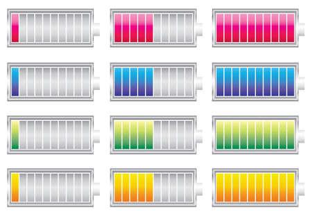 miernik: Znak poziom naładowania baterii w innym kolorze Ilustracja