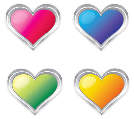 Colorful 3d Heart collection set  Vector
