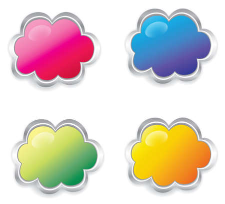 Colorful 3d cloud collection set, create by vector Illusztráció