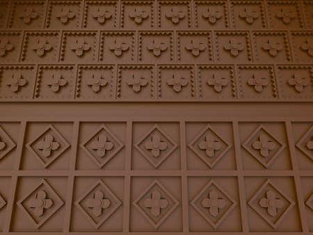 rosaceae: Oriental flower pattern wall interior, create by 3D